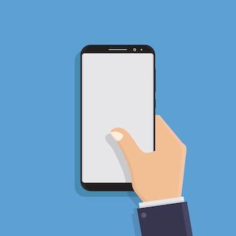 Mão segurando a ilustração em vetor design plano telefone inteligente