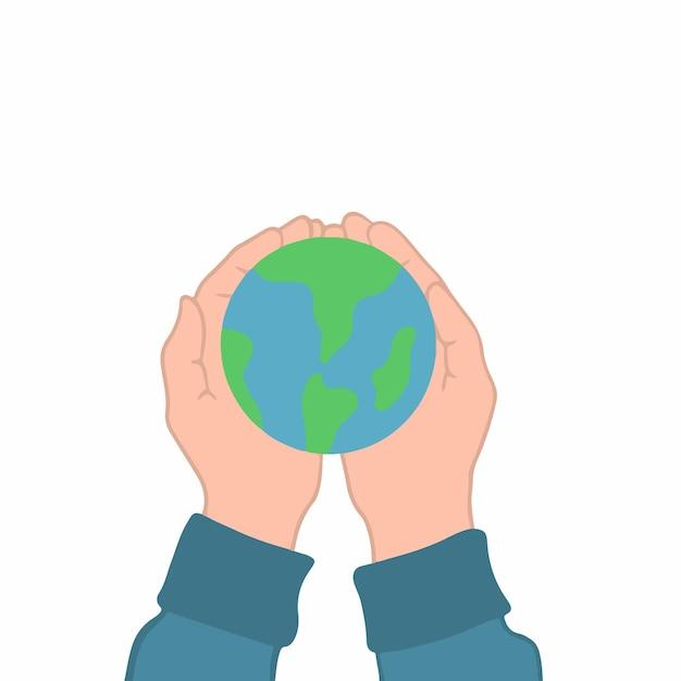 Mão segurando a ilustração vetorial plana do símbolo do ícone do globo terrestre