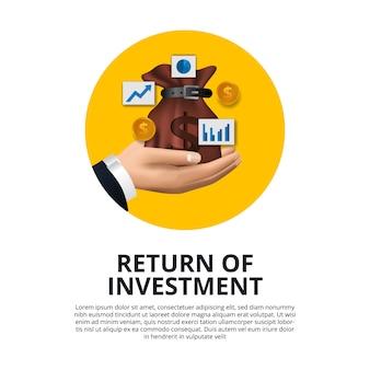 Mão segurando a moeda de ouro de saco de dinheiro, gráfico, retorno de crescimento de seta do investimento roi