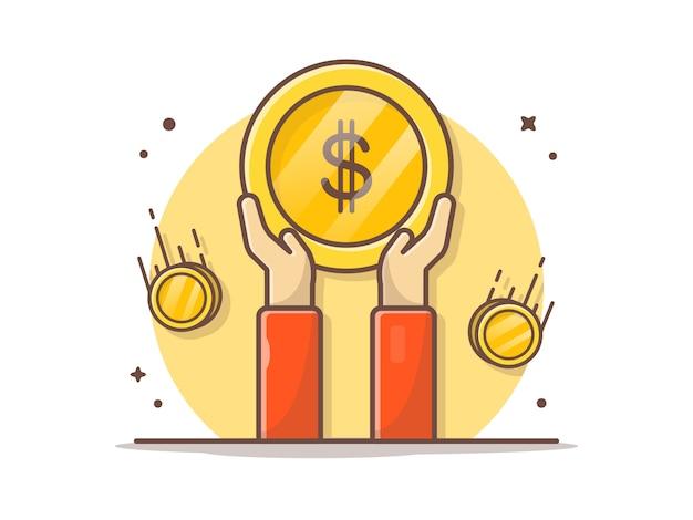 Mão segurando a moeda de ouro vector clipart ilustração