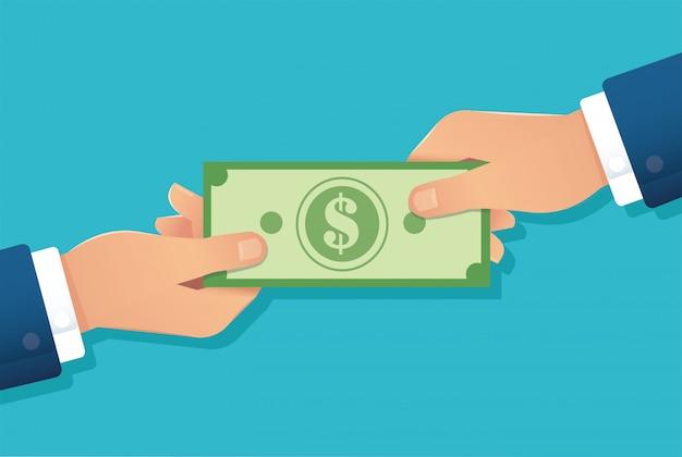 Mão segurando a nota de dólar, mãos dando dinheiro