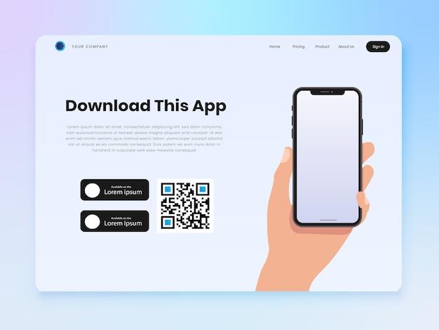 Mão segurando a página inicial do smartphone