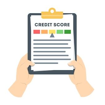 Mão segurando a prancheta com histórico de crédito nele. classificação e pontuação de crédito no documento. verificação de dados financeiros. ilustração em vetor plana isolada