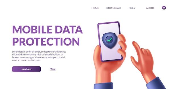 Mão segurando a proteção de dados móveis do telefone. segurança de privacidade pessoal. ilustração em vetor ícone 3d escudo seguro bonito