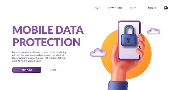 Mão segurando a proteção de dados móveis do telefone. segurança de privacidade pessoal. ilustração vetorial fofa de cadeado de ícone 3d