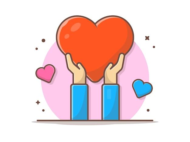 Mão segurando amor vector clipart ilustração