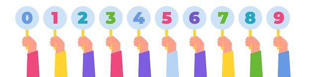 Mão segurando as marcas dos juízes. pontuações ou feedback da competição. conceito de votação. . ilustração vetorial
