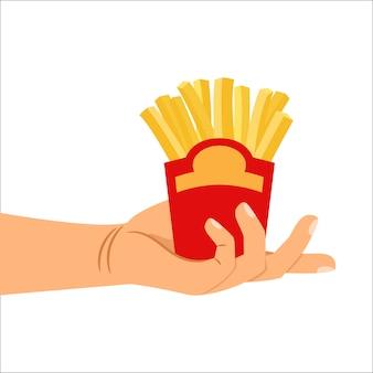 Mão, segurando, batatas fritas