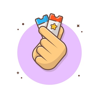 Mão segurando bilhetes icon ilustração