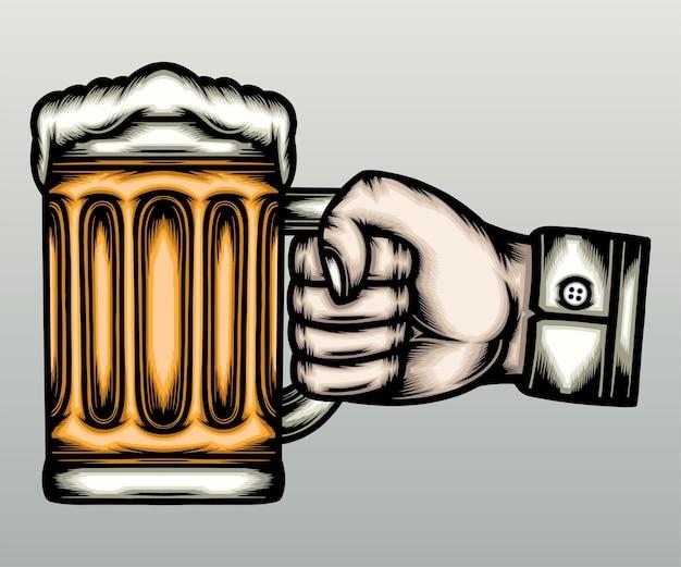 Mão segurando canecas de cerveja na mão desenhada
