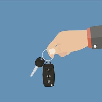 Mão, segurando, carro, teclas