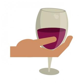 Mão segurando copo de vinho