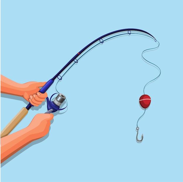 Mão segurando desenho animado com ilustração de símbolo de vara de pescar