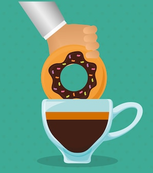 Mão segurando donut com xícara de café