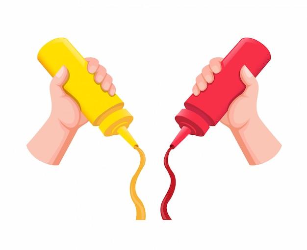 Mão segurando e apertando a garrafa de mostarda e ketchup de plástico na comida na ilustração plana dos desenhos animados