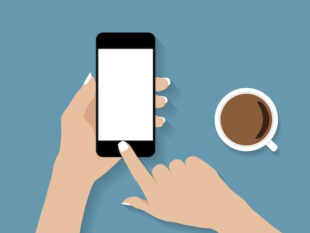 Mão segurando e toque design de vetor de telefone