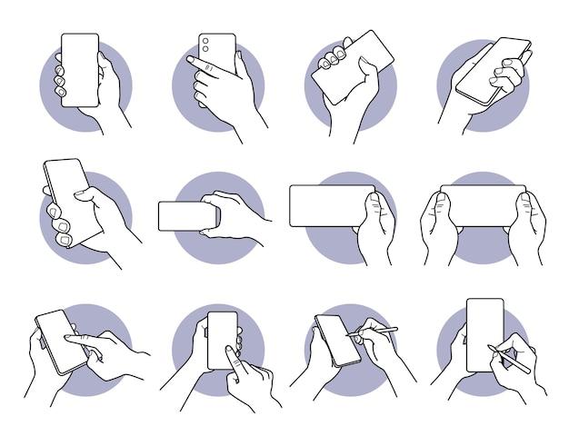Mão segurando e usando telefone inteligente com conjunto de ícones de tela em branco branca.