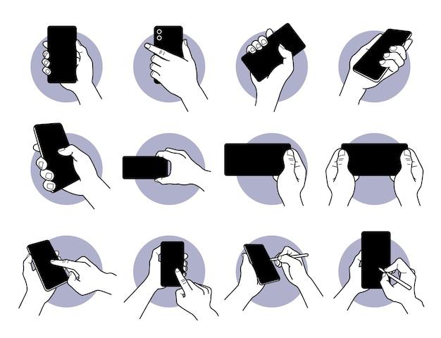 Mão segurando e usando um telefone inteligente com conjunto de ícones de tela preta em branco.