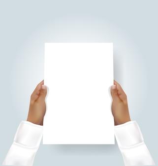 Mão, segurando, em branco, a4, panfleto, convite, mock-up