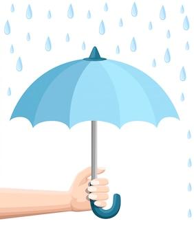 Mão segurando guarda-chuva azul. proteção de guarda-chuva da chuva. estilo . ilustração em fundo branco