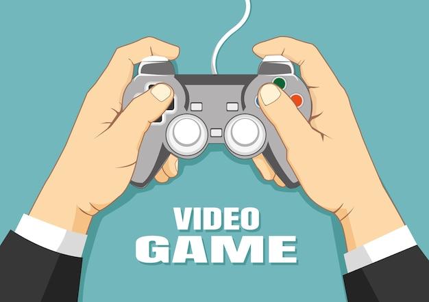 Mão, segurando, joystick, vetorial, ilustração