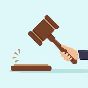 Mão, segurando, juiz, martelo, ilustração