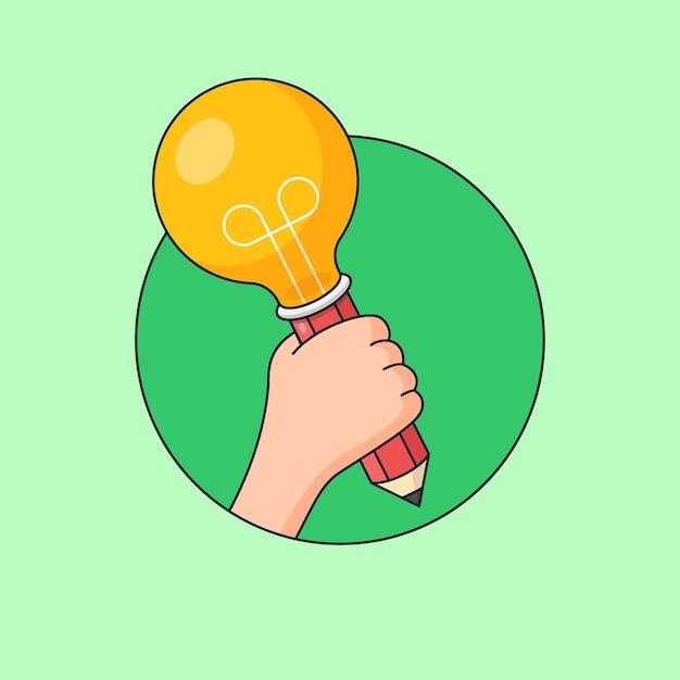 Mão segurando lápis ilustração de lâmpada para aluno criativo com design visual de ideia brilhante