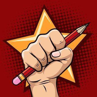 Mão, segurando, lápis, ilustração