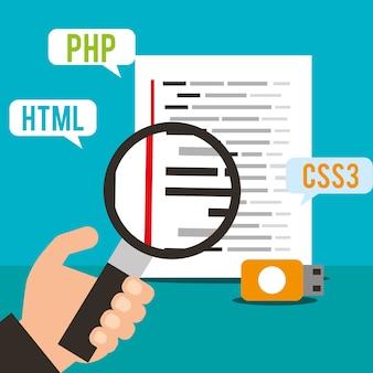 Mão segurando lupa e codificação de programa de página usb