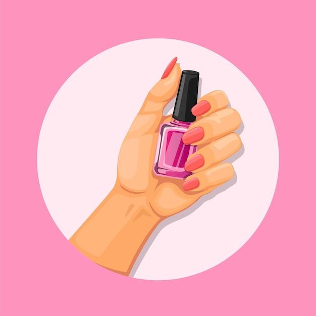 Mão segurando manicure nail art e polonês conceito de produto na ilustração dos desenhos animados