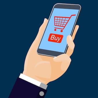 Mão segurando móvel com compras on-line