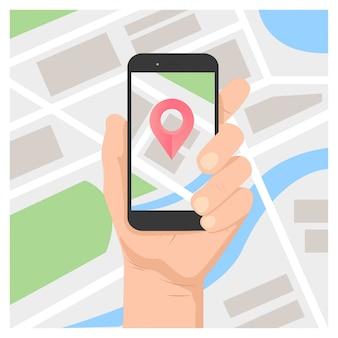 Mão, segurando, móvel, gps, navegação, ligado, telefone móvel, com, mapa, e, alfinete, vetorial, ilustração