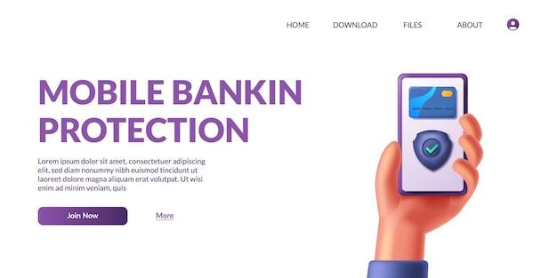 Mão segurando o aplicativo de pagamento do banco. conceito de pagamentos móveis, proteção de dados pessoais. 3d fofo. ilustração vetorial.