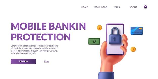 Mão segurando o aplicativo de pagamento do banco. conceito de pagamentos móveis, proteção de dados pessoais com cadeado. ilustração em vetor 3d fofa.