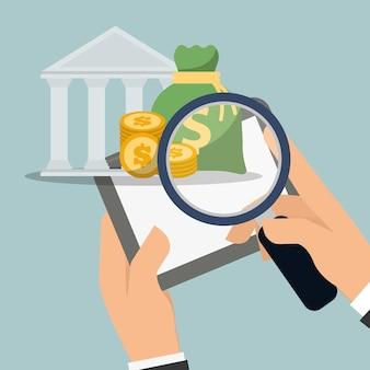 Mão segurando o banco de moeda de pesquisa de tablet digital