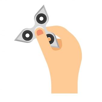 Mão segurando o brinquedo de fidget spinner. ilustração em vetor estilo simples
