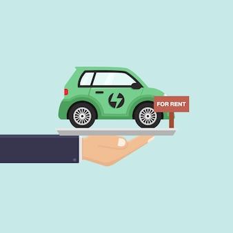 Mão segurando o carro elétrico para alugar ilustração em vetor design plano