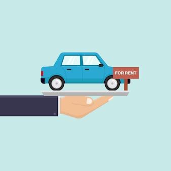 Mão segurando o carro para alugar ilustração em vetor design plano