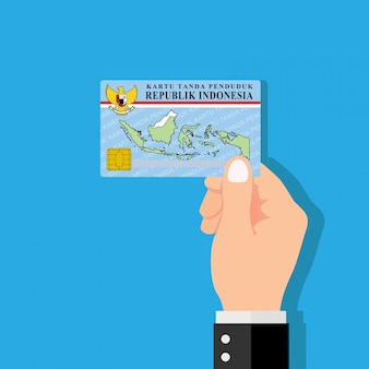 Mão segurando o cartão de identificação. design plano de ilustração vetorial.