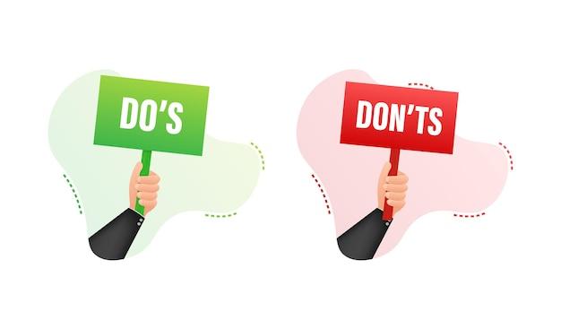 Mão segurando o cartaz o que fazer e o que não fazer. ilustração em vetor das ações.