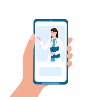 Mão segurando o celular com serviço médico online. terapeuta dá consulta de smartphone
