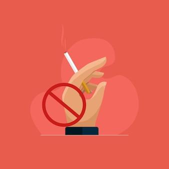 Mão segurando o cigarro de fumar pare de fumar e o conceito de matar fumar
