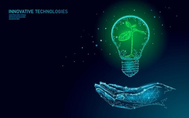 Mão segurando o conceito de ecologia energética de poupança de lâmpada. poligonal broto azul mudas de plantas pequenas dentro de eletricidade verde energia poder ilustração