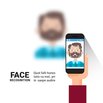 Mão segurando o conceito de reconhecimento de tecnologia de controle de acesso do sistema de identificação de rosto de homem inteligente homem segurando o conceito de reconhecimento biométrico