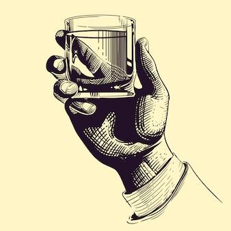 Mão segurando o copo com ilustração vintage de bebida forte