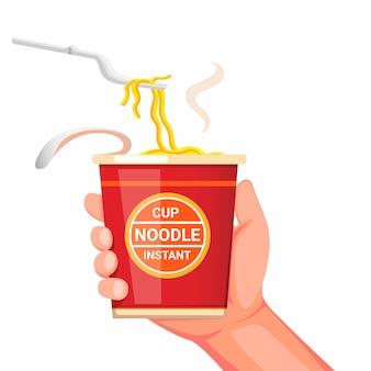 Mão segurando o copo instantâneo de macarrão com garfo de plástico pronto para comer. conceito realista ilustração dos desenhos animados, isolada no fundo branco
