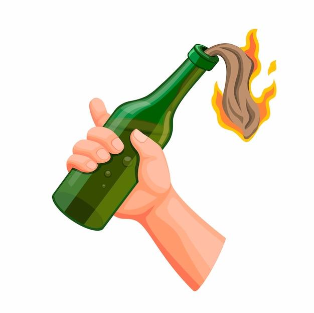 Mão segurando o coquetel molotov, bomba artesanal de vidro de garrafa em fogo de chamas, símbolo de demonstrador de anarquia na ilustração realista dos desenhos animados, isolada no fundo branco