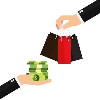 Mão segurando o dinheiro e mão segurando o saco de papel