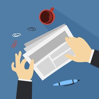 Mão segurando o documento e fazendo análise de dados