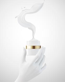 Mão segurando o frasco de creme com o líquido voando para fora da embalagem na ilustração 3d